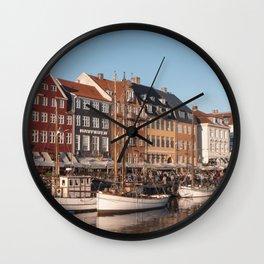 Colorful houses with fishing boats I Nyhavn, Copenhagen I Denmark, Europe I Vintage photogrpahy Wall Clock