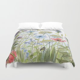 Floral Watercolor Botanical Cottage Garden Flowers Bees Nature Art Duvet Cover