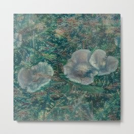 Blurry Blue Mushrooms Metal Print