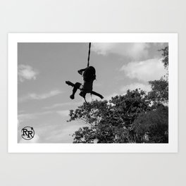 Girl on Swing B&W Art Print