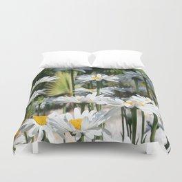 A Garden of White Daisy Flowers Duvet Cover