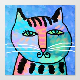 Mr. Whiskers ABstract Digital Cat Painting Canvas Print