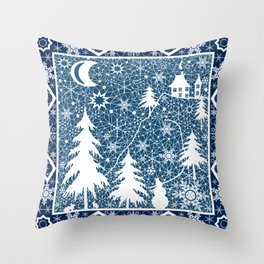 New year's design. Lace fabric . Throw Pillow