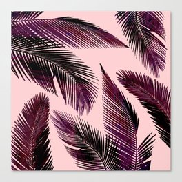 Pink Tropical Leaves Canvas Print