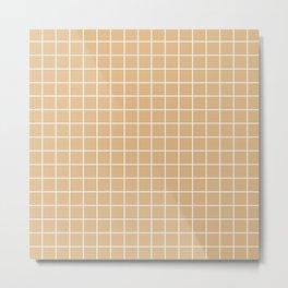 Burlywood - brown color - White Lines Grid Pattern Metal Print