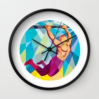 crossfit Wall Clocks featuring Crossfit Pull Up Bar Circle Low Polygon by patrimonio