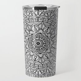 Circle of Life Mandala Black and White Travel Mug