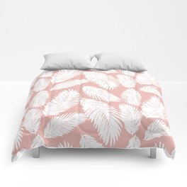 White Tropical Palm Tree Fern Leaf on Rose Gold Pattern Comforters