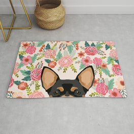 Chihuahua dog floral pet pure breed gifts for chihuahua black and tan Rug