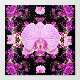 Purple Orchids Pattern Fantasy Yellow Black Art Pattern Canvas Print
