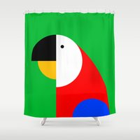 parrot Shower Curtains featuring PARROT by Alex Birk