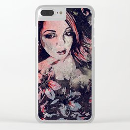 Ruined Our Everything: Red (graffiti flower lady portrait) Clear iPhone Case