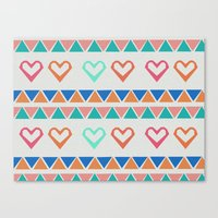 knit Canvas Prints featuring Heart Knit  by minniemorrisart