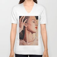 jennifer lawrence V-neck T-shirts featuring Jennifer lawrence colorpencil and painting mixmash art vouge  by Sevvannah7
