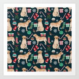Yellow Labrador retriever christmas festive holiday gifts for dog person dog lover labrador retrieve Art Print