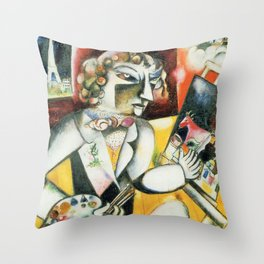 Marc Chagall Self Portrait with Seven Fingers Throw Pillow