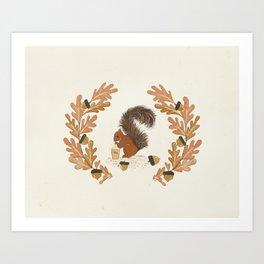 Pumpkin Spice Squirrel Art Print