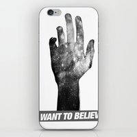 i want to believe iPhone & iPod Skins featuring I Want To Believe by Devin Caldwell