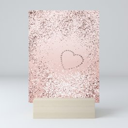 Sparkling ROSE GOLD Lady Glitter Heart #5 #decor #art #society6 Mini Art Print