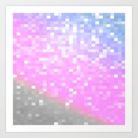 pixel Art Prints featuring Pink Lavender Gray Pixels by Whimsy Romance & Fun