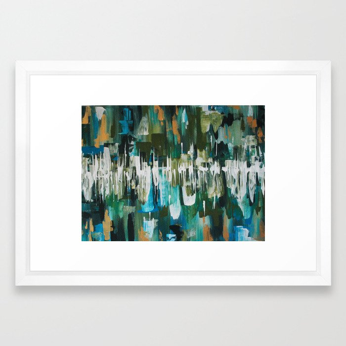 Acrylic Blue, Green and Gold Abstract Painting Framed Art Print by ...