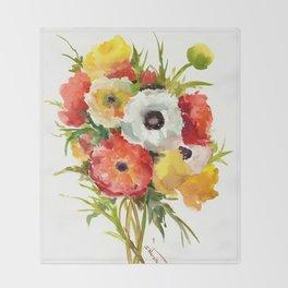 Flowers, Buttercups, orange red white yellow garden floral design Throw Blanket