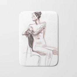 Nude model, life sketch Bath Mat