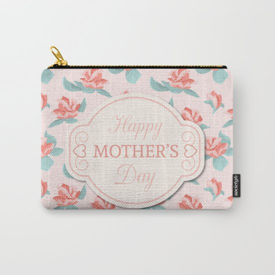 Happy Mother's Day Floral pattern Carry-All Pouch