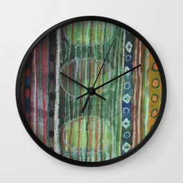 Dark Folcloristic Pattern With Vertical Stripes And Ovals  Wall Clock