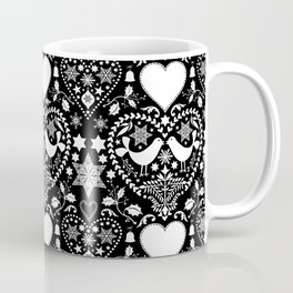 Black And White Hygge Scandi Christmas Folk Art Design Coffee Mug