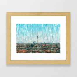 Berlin Skyline & Tv Tower, City Painting /  impressionism   / abstract landmarks drawing Framed Art Print