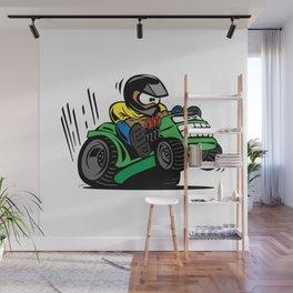 Cartoon racing riding lawnmower tractor popping a wheelie Wall Mural