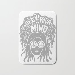 Open Your Mind in Gray Bath Mat