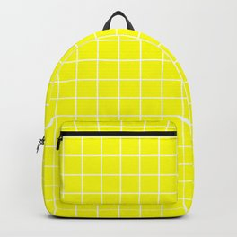 Lemon glacier - yellow color - White Lines Grid Pattern Backpack