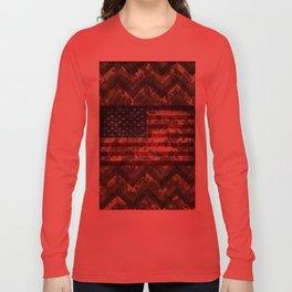 Digital Camo Patriotic Chevrons American Flag Long Sleeve T-shirt