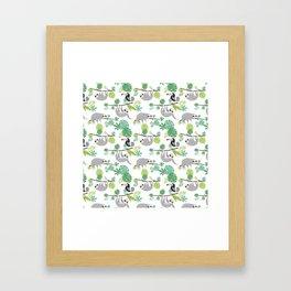 Happy Sloth Jungle Party Framed Art Print
