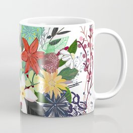 Colorful mix flower bouquet pattern white background Coffee Mug