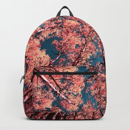 Upward Glance Living Coral Trees Blue Sky Backpack