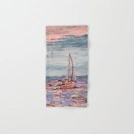 Sailing on the bay at sunset Hand & Bath Towel