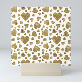 Abstract gold marble romantic valentines hearts Mini Art Print