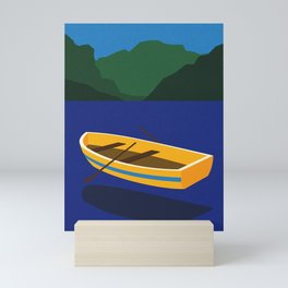 Boat On The Mountain Lake Mini Art Print