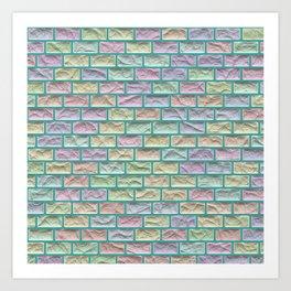 Unicorn Castle Pastel Bricks Art Print