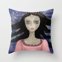 indigo Throw Pillows featuring Indigo by Yazmin Basa