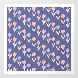 Modern hand painted pink lavender violet tulip floral Art Print