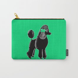 Black Standard Poodle with a Green Bow Carry-All Pouch