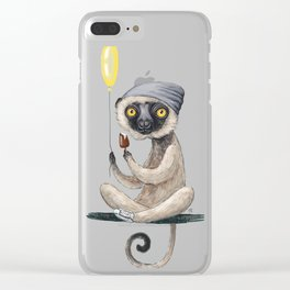 Sifaka with ice cream Clear iPhone Case