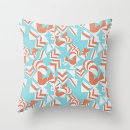 Geometric sixty collage in blue and salmon Throw Pillow