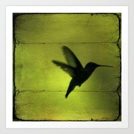 Neon Green Hummingbird behind the blinds Art Print
