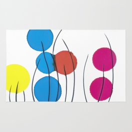 Yellow Blue Red Pink Drops Rug