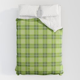Line Up Green on Green Plaid Duvet Cover